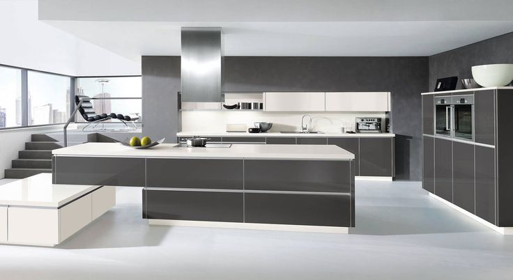 Alnochic, Kunststoff Hochglanz Weiss, H00135Moderne - küchenblock 270 cm