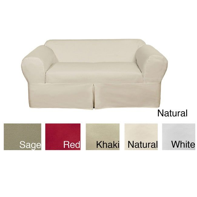 Classic 2-piece Cotton Twill Loveseat Slipcover | Overstock.com Shopping - The Best Deals on Loveseat Slipcovers