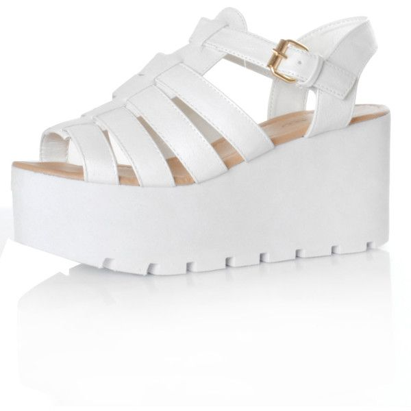 White Buckle Strappy Wedge Sandals ($37) ❤ liked on Polyvore featuring shoes, sandals, zapatos, pink, high heel sandals, white chunky sandals, pink high heel sandals, white sandals and wedges shoes