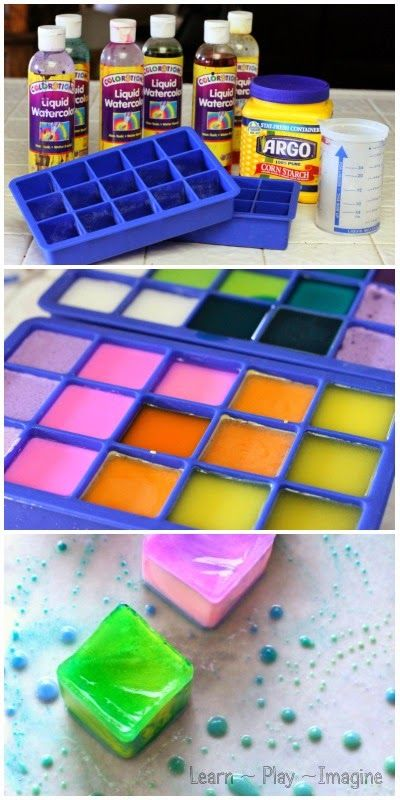 Painting with Ice Chalk and Oil - How to make ice chalk. Fun summer activity for learning colors! #preschool #kidscrafts