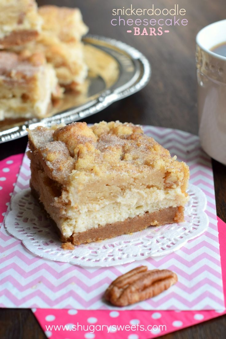 Snickerdoodle Cheesecake Bars - Shugary Sweets