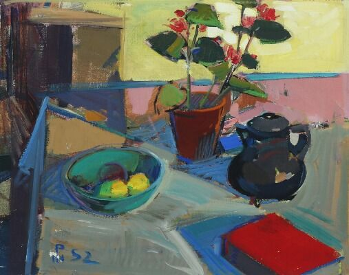 Poul S. Nielsen: Still life with flowers and coffee pot. Signed with monogram and dated 52. Oil on canvas. 64×79.5 cm.