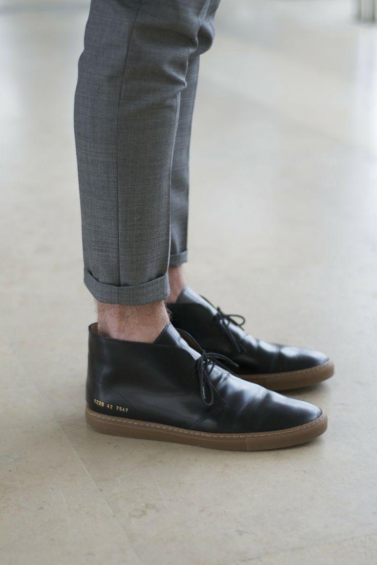 Slacks Grey Suit Pants Cuffed Black Shoes