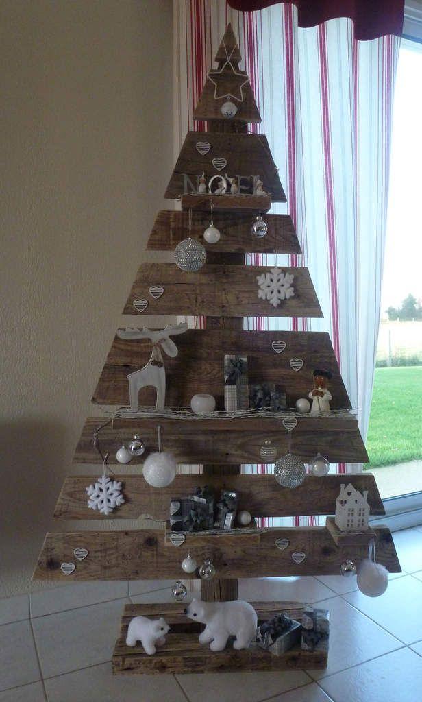 Cette année, j'ai décidé de réaliser mon sapin de Noël dans une palette... J'ai tout d'abord séparé les planches, nettoyer puis poncer. Je les ai assemblées en laissant un espace entre chaque pour insérer entre certaines, une étagère... Ensuite je suis...