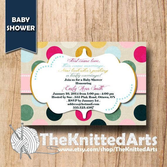 Baby Shower Invitation. 4x6. Polka Dots Design. Customized then Print at Home.