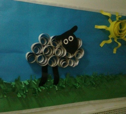 Image detail for -library bulletin board ideas / paper-quilled sheep and sun bulletin ... by angelina