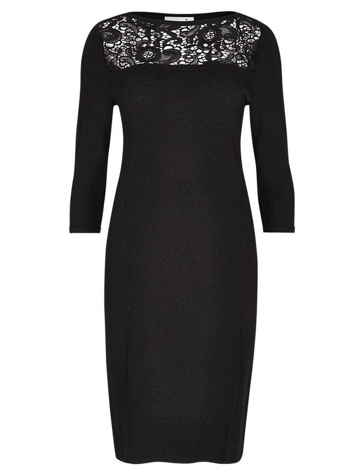 Per Una Black Dress Part - 20: Size 10 M U0026 S PER UNA 3/4 Sleeve Lace Yoke Knitted Tunic Dress