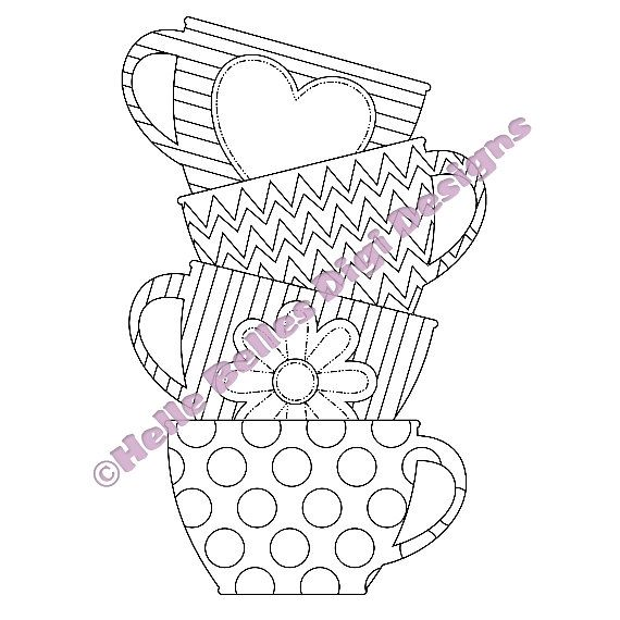 Instant Download Stacked Tea Cups Digi Stamp by HelleBellesDesigns, £1.00