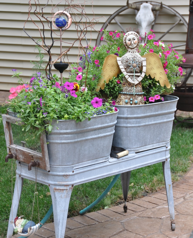 88 best images about re purposed wash tubs on pinterest for Large metal tub for gardening