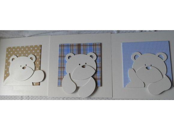 Lindíssimo trio de quadros em MDF recortados a laser e decorado com finíssimo acabamento. Podemos personalizar o aplique de tecido de acordo com a descoração do seu quarto. Vai ficar lindo!!! R$ 150,00