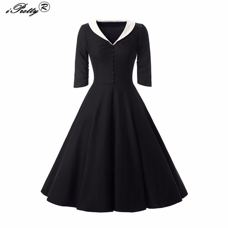 Женские летние платья большие качели с длинным рукавом 50 s 60 s винтажное платье черный, красный Button Женщины Осень рокабилли вечернее платьекупить в магазине UniStyle StoreнаAliExpress