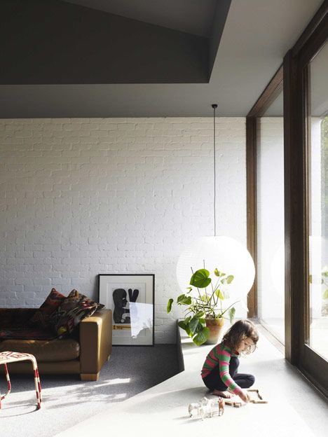 Simple finishes - painted brickwork - Merricks Beach House by Kennedy Nolan Architects