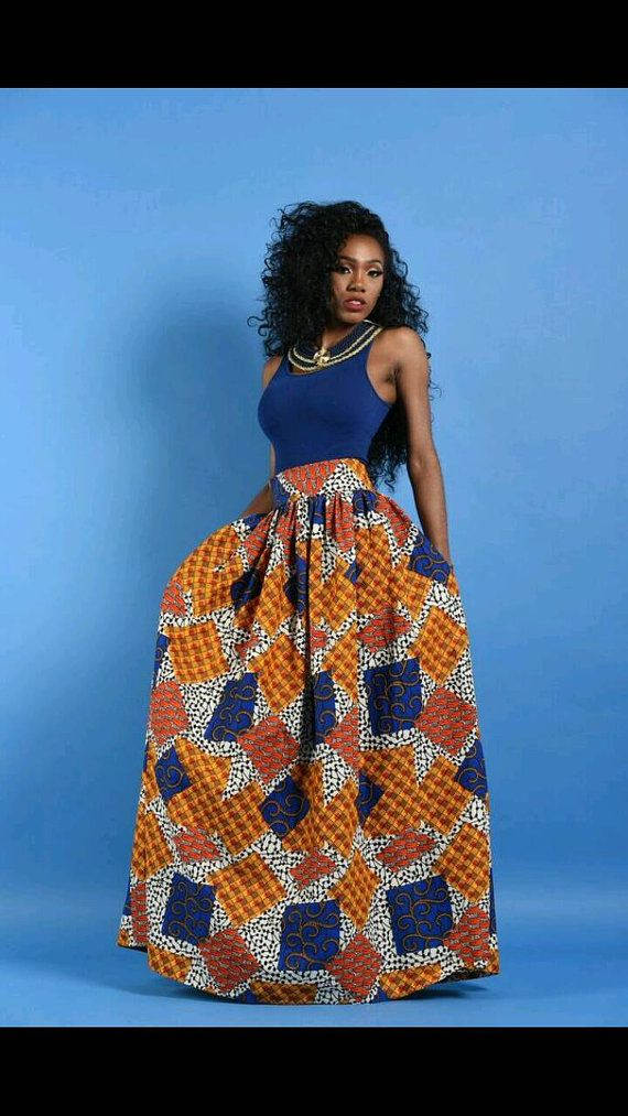 NEW Patchwork  African Print Maxi skirt by RAHYMA on Etsy                                                                                                                                                                                 More