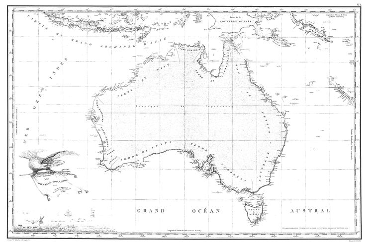 1811 freycinet map the first full map of australia to be published