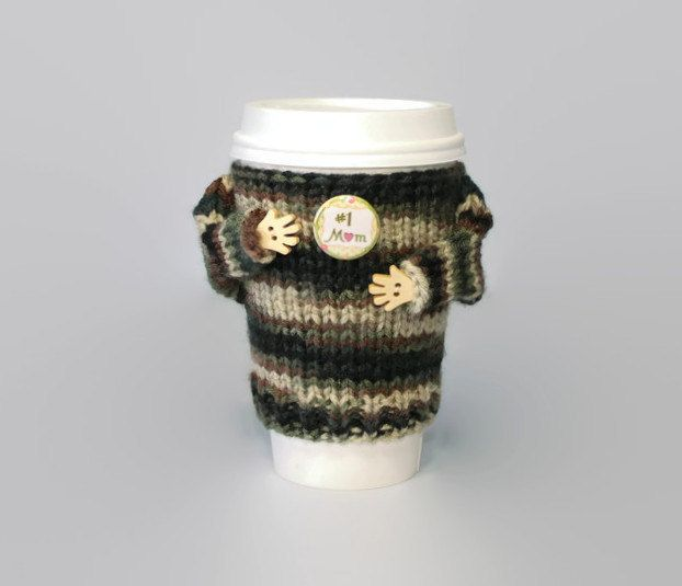Army mom gift. Mothers Day coffee cozy. Cup sleeve. Travel mug cozy. Number one mom. Funny coffee. Camouflage sweater. Starbucks cup sleeve by MugHugCozy on Etsy
