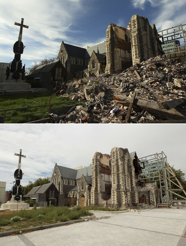 Christchurch New Zealand rebuilds: Cathedral supported by scaffolding with rubble and without rubble