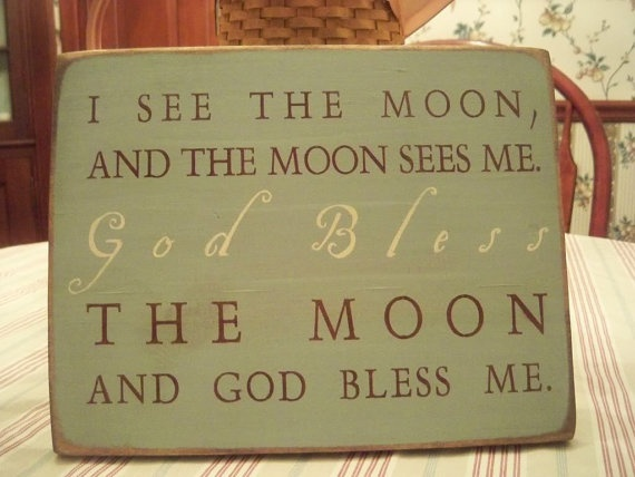 wood sign God bless the moon primitive baby by ThePerfectPearing, $22.00