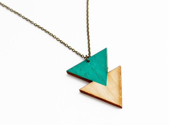 Geometric double triangle wooden necklace emerald by TheiaDesign, $22.00