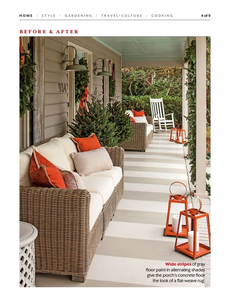 Painted Concrete Porch.....looks Like A Woven Rug!