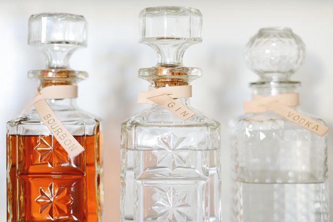DIY leather decanter labels