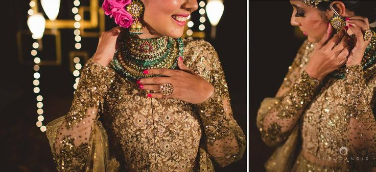 We love how the whole outfit has been accessorized. There is a heavy necklace, maathapatti and jhumkis to complete the look, however,to bring out the heavy work on the sleeves, bangles have been given a miss rather, just a statement ring on the hand rounds the look off extremely well. Oh, and not to mention those baby pink roses which set off the green in the jewellry and the gold in the lehenga and look so refreshing and lovely! Score!