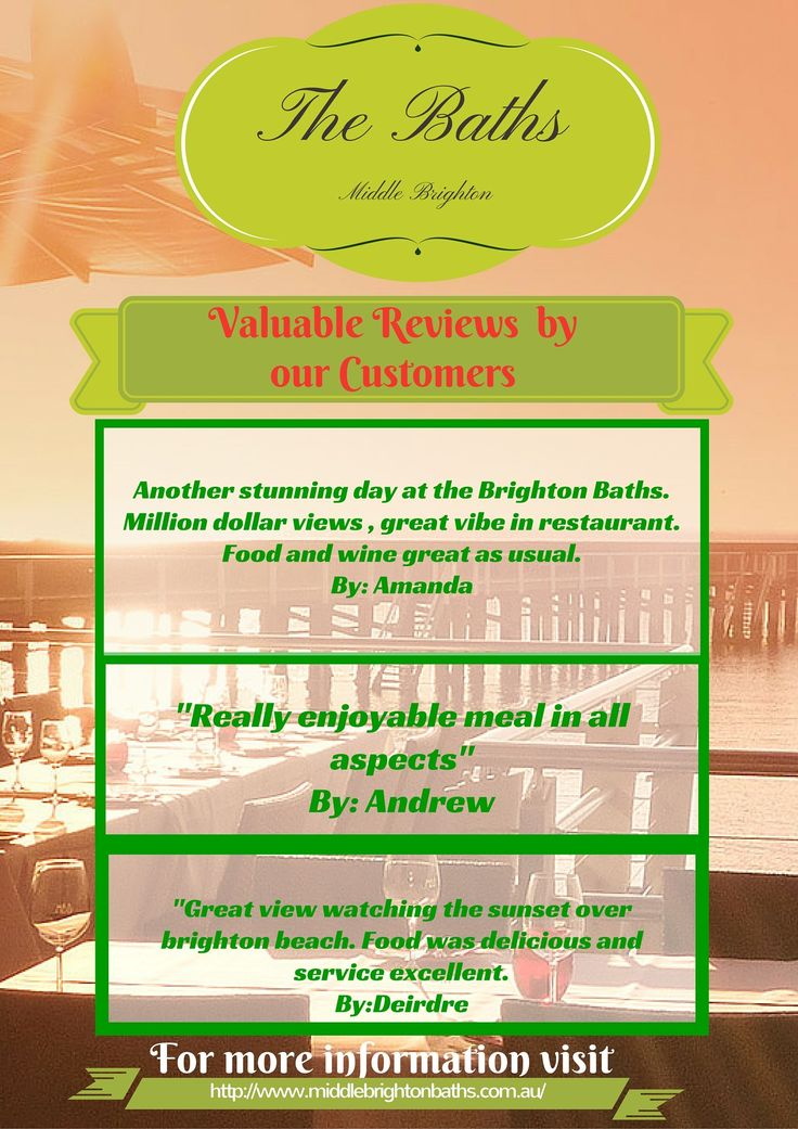 We had attended so many clients form different regions of Australia. From small birthday party, couple lunch or dinner to a huge marriage parties, we had manage all. If you want to know what our clients says about our services, kindly have a look. https://www.dimmi.com.au/restaurant/the-baths-middle-brighton