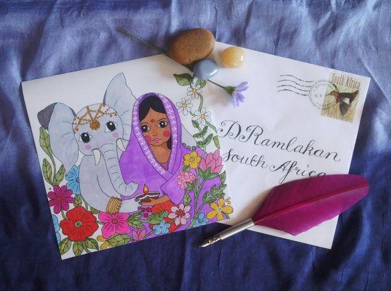 Girls of the world: India by RainbowNationArt on Etsy