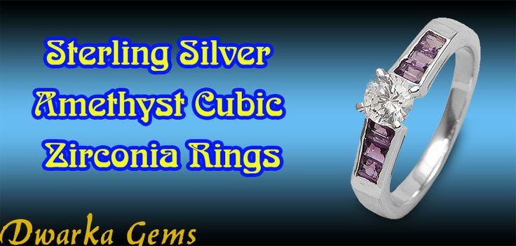 Sterling Silver Amethyst Cubic Zirconia Rings