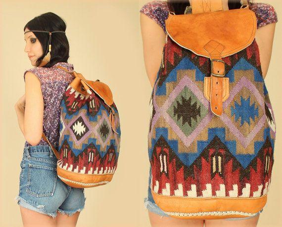 ViNtAgE Tribal KILIM Large Leather Festival Backpack by hellhoundvintage, $138.00