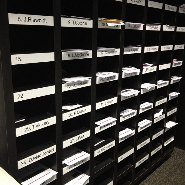 The player's pigeonholes!