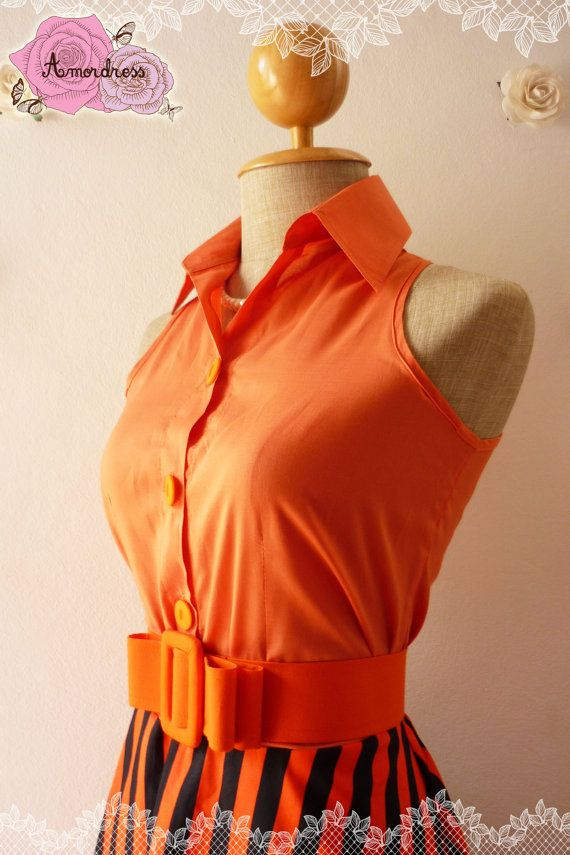 Summer Dress Shirt Dress Jazzy Orange Dress Retro by Amordress, $42.50