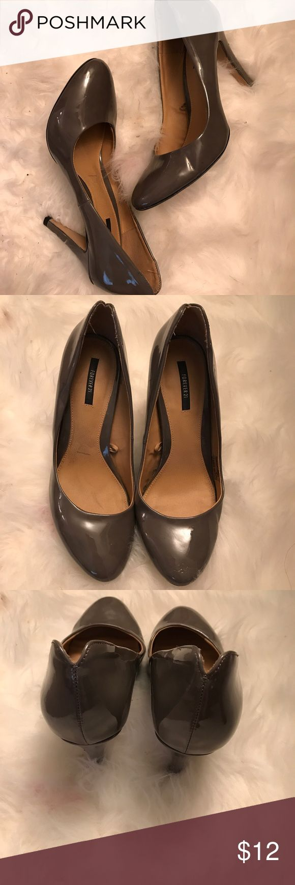 Grey Pumps (Forever21) Cute Paten grey Pumps. Size 9 women's 3inch heel Forever 21 Shoes Heels