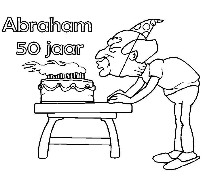 opa abraham 50 jaar kleurplaat digitale stempels