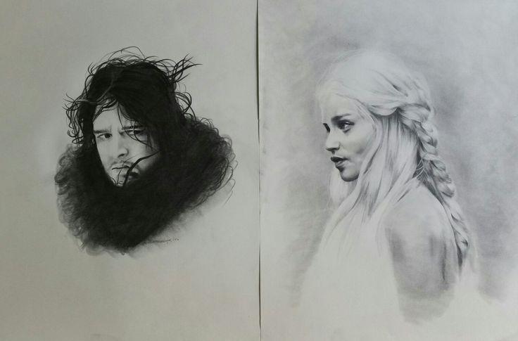 #Jon Snow  #Daenerys Targaryen  #GameOfThrones Pencil on paper je 40x50cm framed