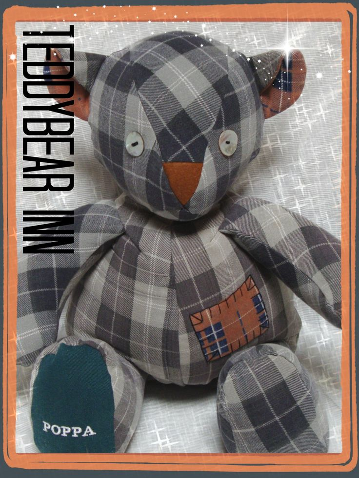 Memory Bear made from the flannelette shirt of a very loved and missed father and grandfather.