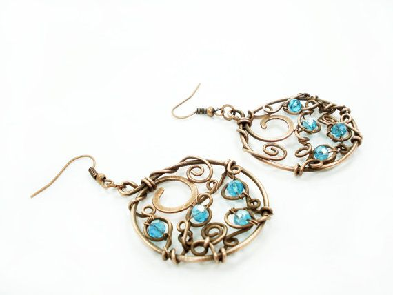 Items Similar To Round Blue Dangle Chandelier Earrings Elegant Spiral Circle Women Handmade Copper Wire Wrap Special Event Jewelry One Of Kind Jewellery