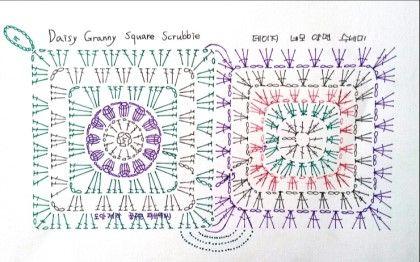 Daisy Granny square scrubbie 데이지 네모 양면 수세미 도안입니다 처음 떴었던 꽃잎 8장에서 12개로 바...