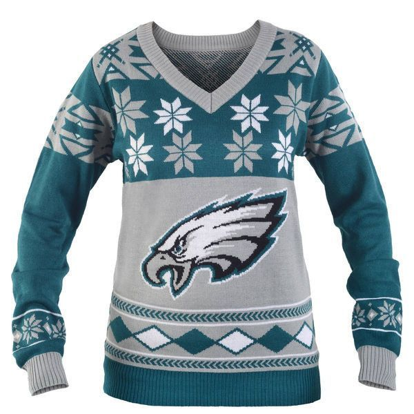 "PHILADELPHIA EAGLES WOMEN'S OFFICIAL NFL ""BIG LOGO"" V-NECK SWEATER BY KLEW"