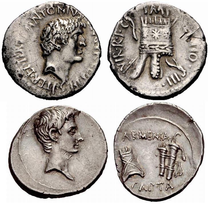 The Armenian tiara was renowned in the Roman world, it was a way for identifying Armenians, and the Armenian Kingdom, and Kingdoms, considering Commagene (Kamakh). Here are two coins depicting the capture of Armenia celebrated in Roman coins as a grand victory, with the depiction of the Armenian Kingly Tiara, with it's unique characteristics.