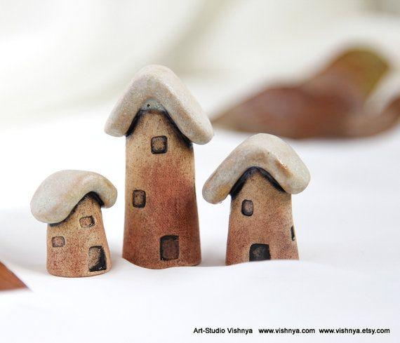 3 Rustic Houses of tiny fairies  Hand Made Ceramic by vishnya, $40.00