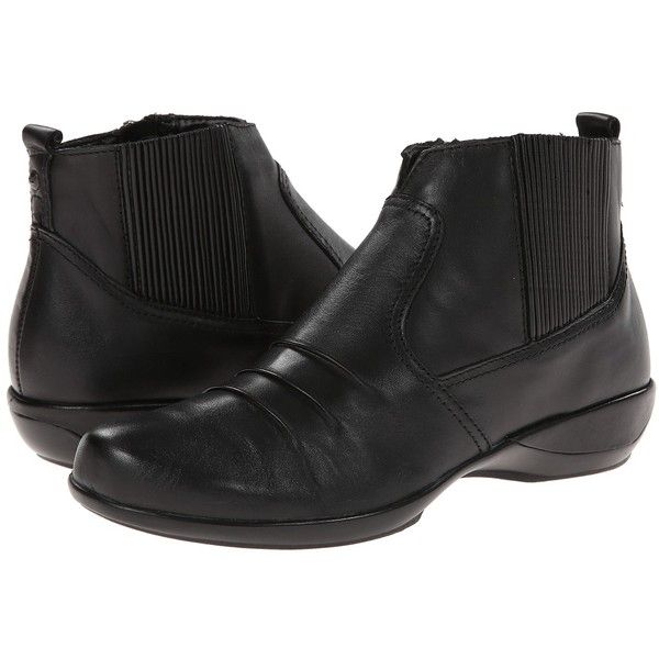 Aetrex Kailey Ankle Boot (Black) Women's Boots ($150) found on Polyvore featuring women's fashion, shoes, boots, ankle booties, ankle boots, leather ankle boots, black leather bootie, black booties and black boots