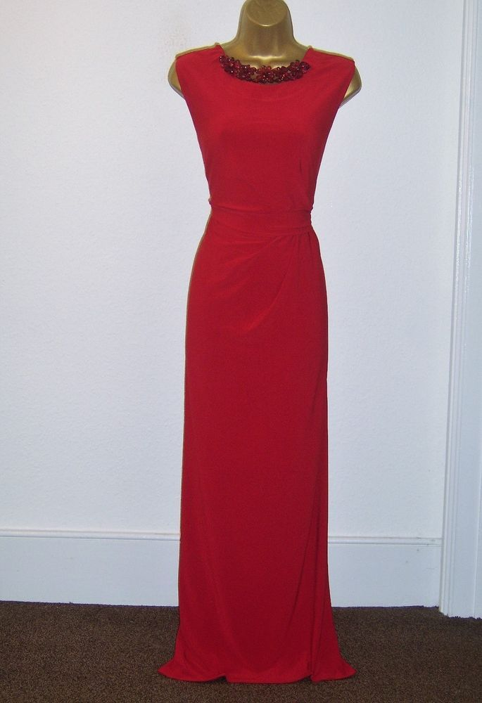 Wallis Fab Red Jewel Design Evening Party Occasion Maxi Dress Size 14 Fashion Clothing Shoes Accessories Wom Occasion Maxi Dresses Size 14 Dresses Dresses