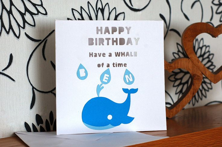 Personalised Birthday Card, Children's birthday card, Whale card, Happy Birthday, by KraziCrochet on Etsy
