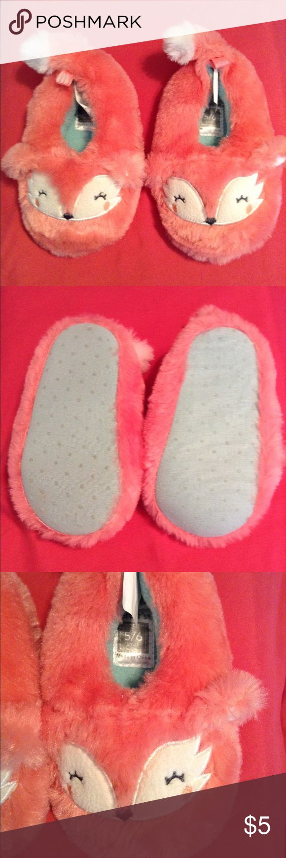 Furry fox slippers Cute toddler furry fox slippers size 5/6 they are pinkish orange Carter's Shoes Slippers