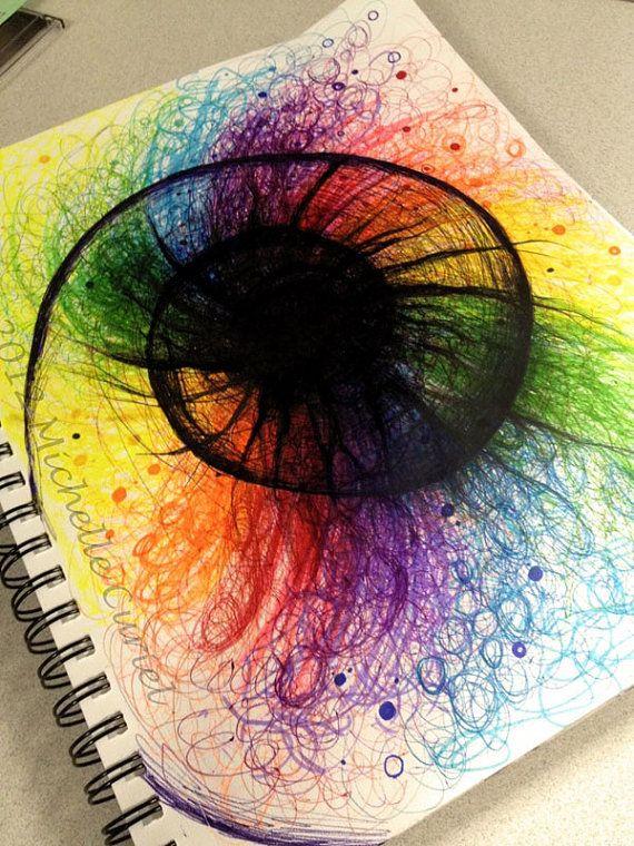 Rainbow Vortex  9 x12 Original art with 11x14 by michellecuriel, $99.99