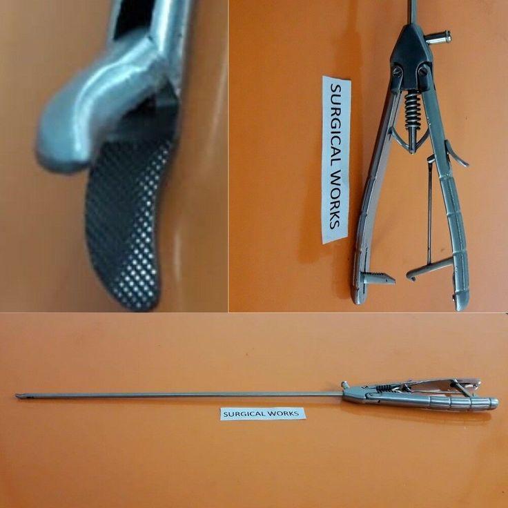 Laparoscopic needle holder driver curved jaw lock unlock