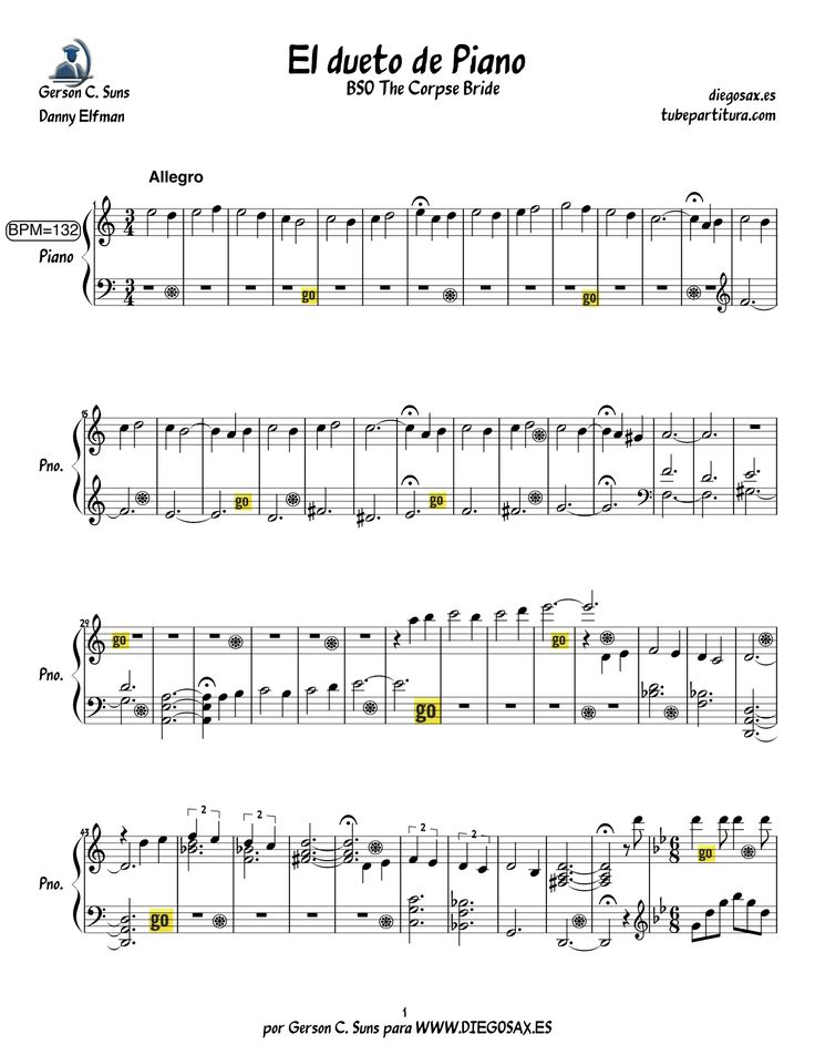 Piano corpse bride piano duet sheet music : 7 best partituras images on Pinterest | Music, Animals and Books