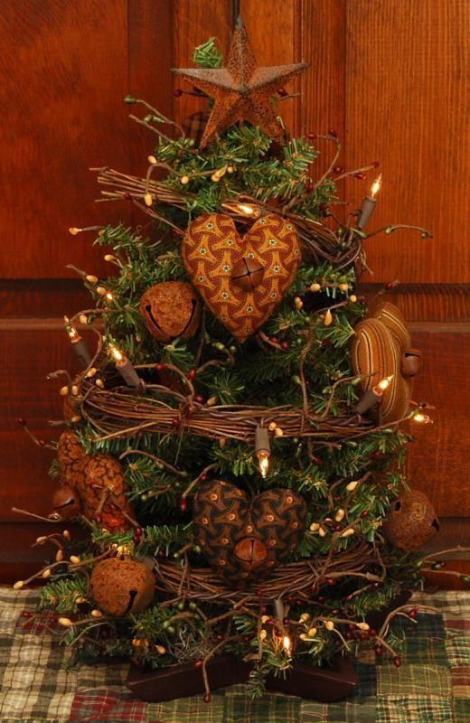 PRIMITIVE LIGHTED VALENTINE HEARTS EVERYDAY TREE WOOD STAR BELLS FOLK ART