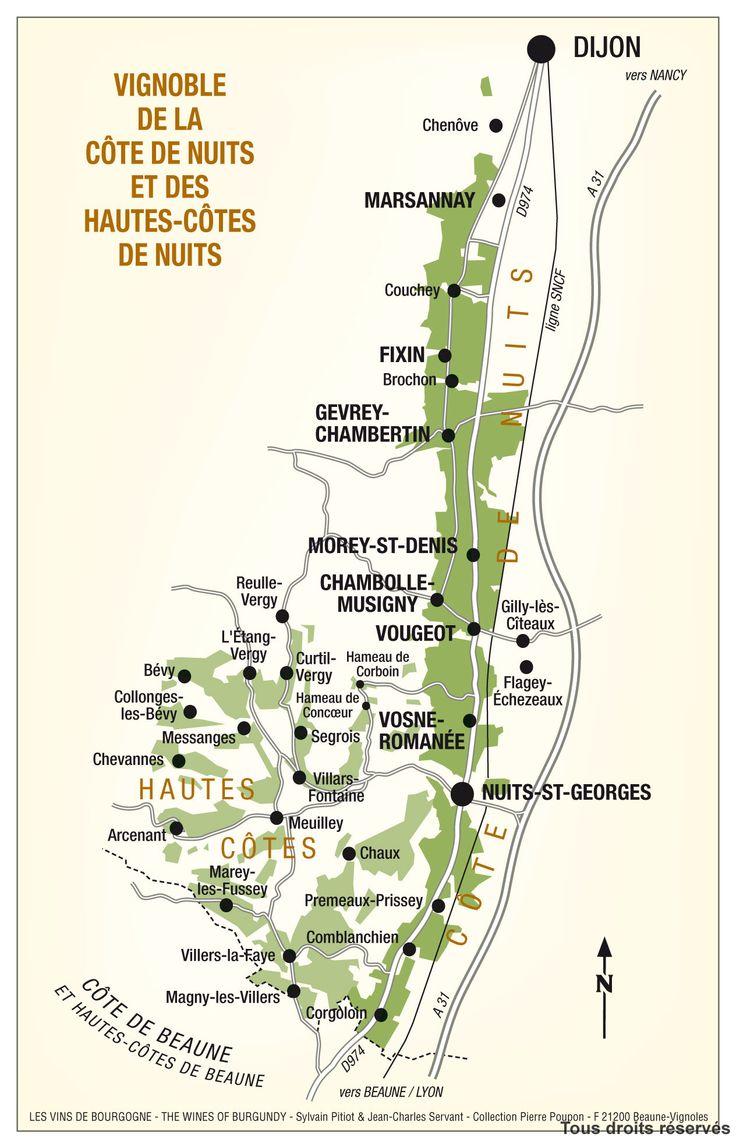 La carte du vignoble.  (http://www.vins-bourgogne.fr)