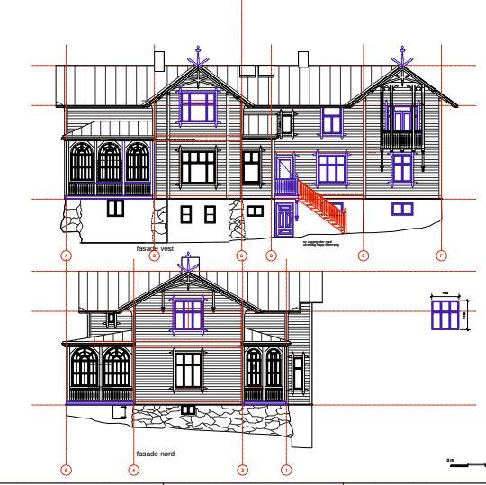 Plan for tilbakeføring av fasaden.